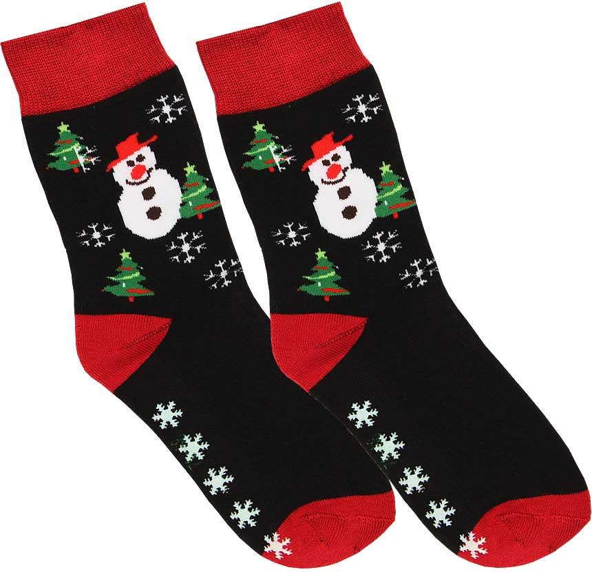 1f96144fde8299 Skarpety bawełniane męskie świąteczne ciepłe, frotte z wykończeniem  antypoślizgowym, sfv84 bałwan