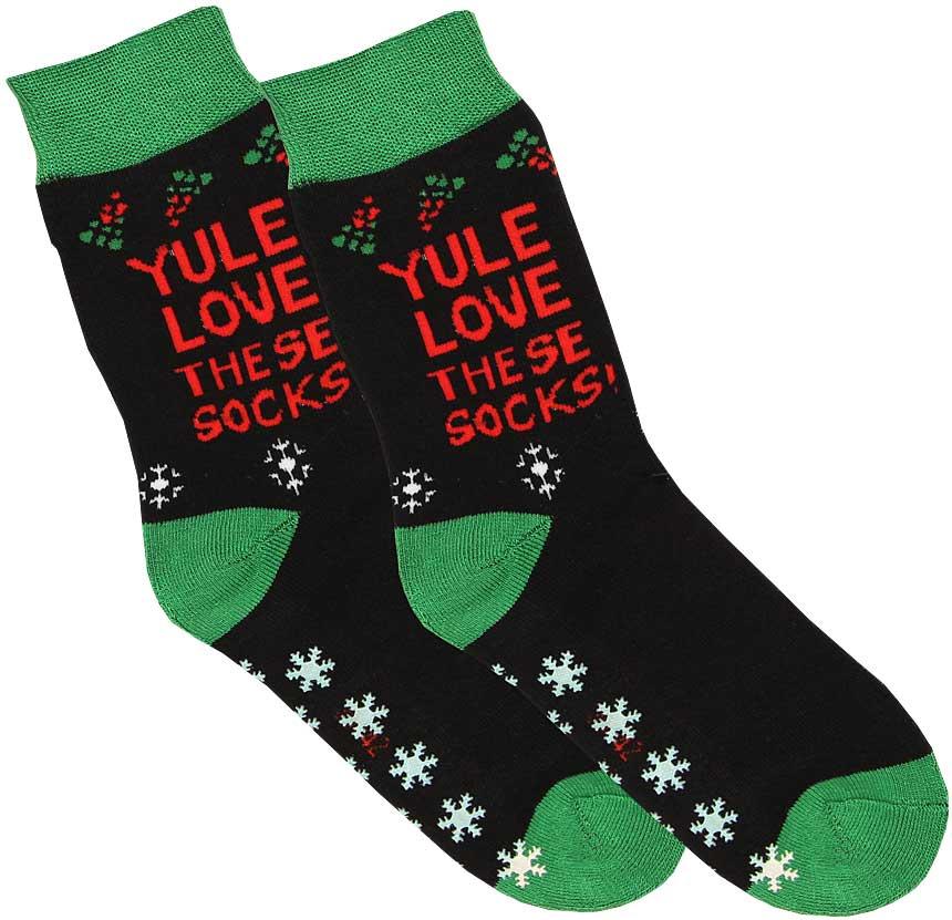 3cf0dfc9cec1db Skarpety bawełniane męskie świąteczne ciepłe, frotte z wykończeniem  antypoślizgowym, sfv84 yule love
